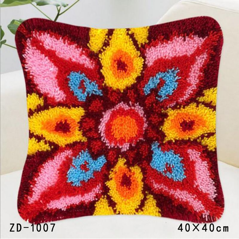 Latch Hook Embroidery Pillow Flower Knitting Knooppakket Rug Kits Pillowcase Haak Kleed Kit Canvas Fabric Sofa Decoration