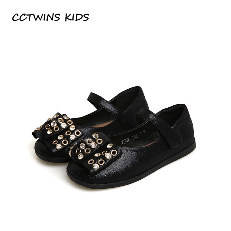 CCTWINS KIDS 2018 Spring Girl Princess Dance Shoe Toddler Fashion Rhinestone Mary Jane Children Party Flat Baby Black G1704 wendywu spring autumn children fashion pu leather heeled shoe for baby girsl rhinestone princess dance shoes gold toddler