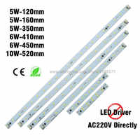 30pcs AC 220V 5W 6W 8W 10w LED Light Bar, integrated LED Driver 5730 Rectangle Aluminum LED Light Source