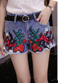 2016 Fashion Sexy Floral Printed Rose Pattern Frazzle Flare Blue Women Denim Shorts Female Summer Casual Shorts Jeans for Women