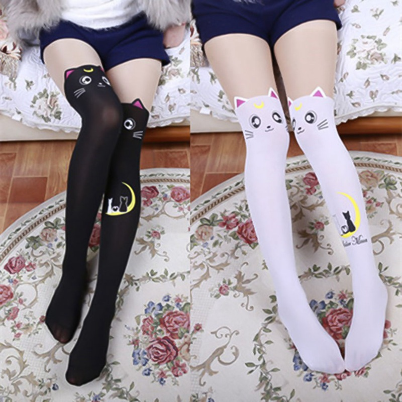 1 pair woman sexy Stockings sailor moon tights lady spring autumn Fight Luna cat tights black and white image