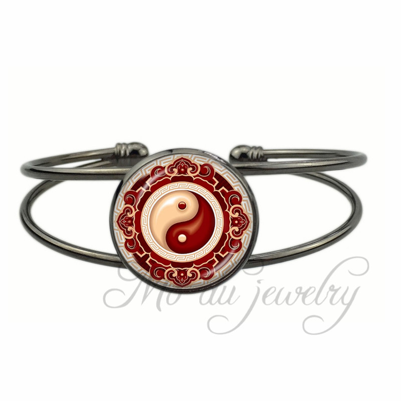 Buy Avatar The Last Airbender Open Cuff Bangle Yin Yang Restore Balance Bracelet Taoism Symbol White Red Cross Bangles Jewelry for $3.59 in AliExpress store