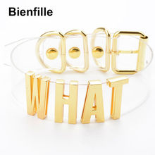 Handmade Women Girl Gold Customized Custom Cosplay WHAT Word Name Collar Choker Kawaii Clear PVC Leather Choker Necklace Men