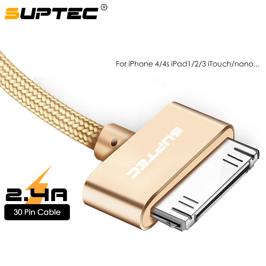 SUPTEC USB Cable for iPhone 4 4s 3GS iPad <font><b>2</b></font> 3 iPod Nano touch Durable Fast Charging 30 Pin Original Adapter Charger Data Cables image