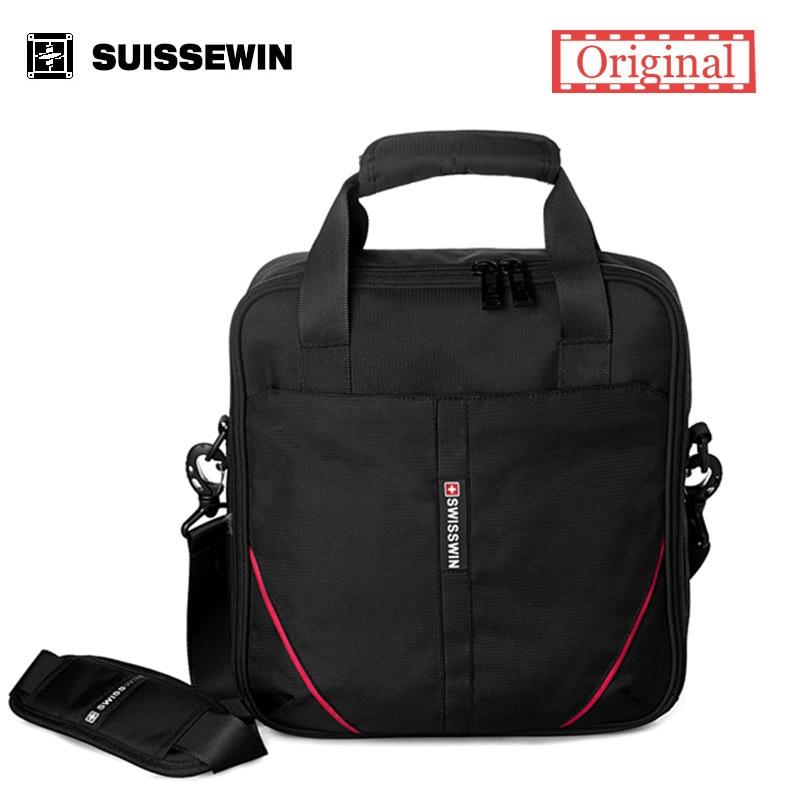 Suissewin Messenger Shoulder Bag Casual Waterproof Crossbody Bag 12inch Laptop Bag Black Business Bag Male SWE1005