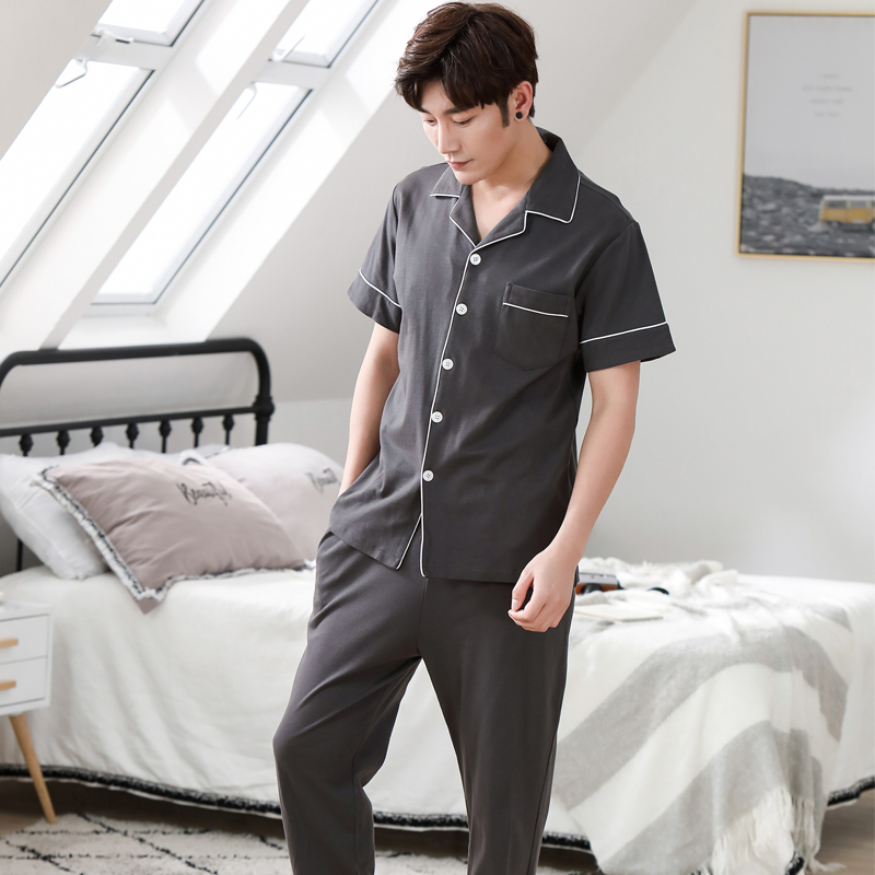 100% Cotton Long Sleeve Men Pajama Sets Cardigan Casual Sleepwear Suit Fashion Men's Pyjamas Spring Summer Male Homewear
