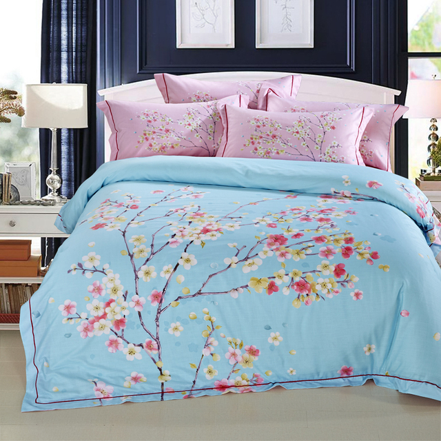 Greatest 100%Cotton/Tencel Linen Blue Pink Cherry Blossom Bedding Set Duvet  CC81