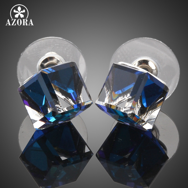 AZORA Blanco Oro Color Stellux Austriaco Azul Cubo Stud Earring - Bisutería - foto 2