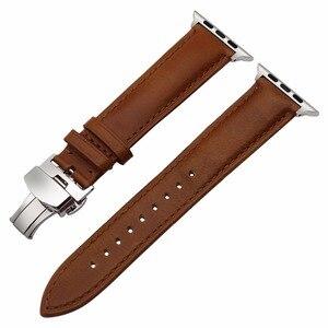 Image 3 - ของแท้หนังสำหรับIWatch Appleนาฬิกา 5 4 3 2 38 มม.40 มม.42 มม.44 มม.เหล็กผีเสื้อClaspสายรัดข้อมือเข็มขัด