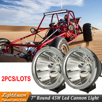 Pair Of 7inch 45w Black Chrome Round Led Driving Light Spot Fog Lamp For Offroad Machinery