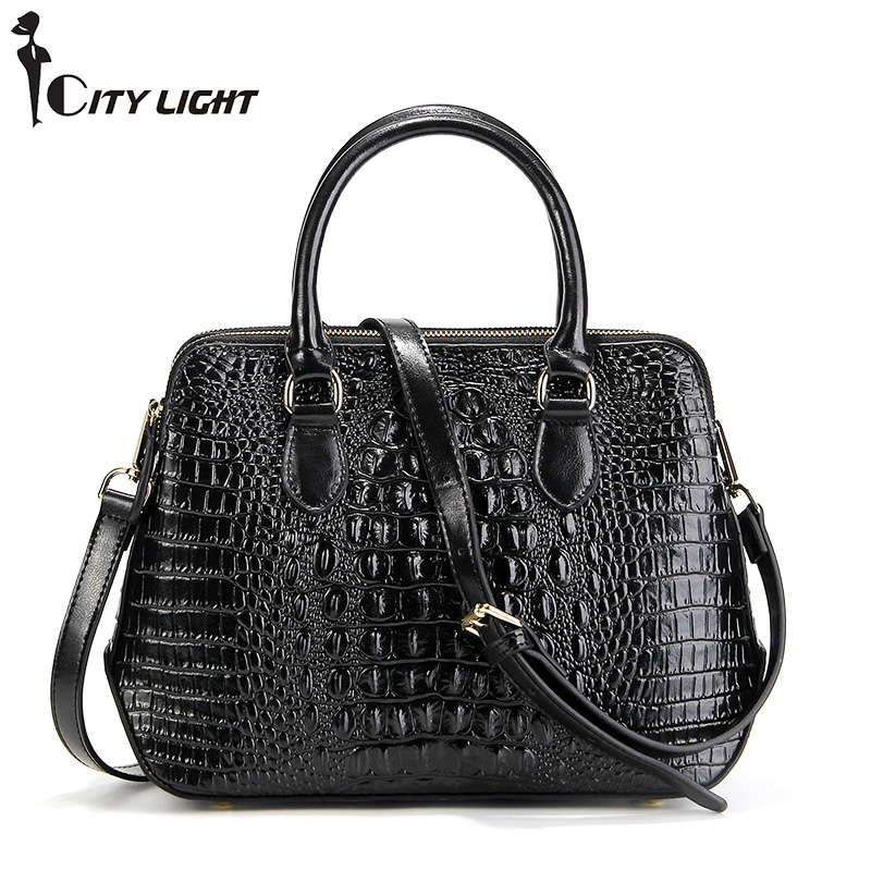 Genuine leather bag ladies crocodile pattern Women messenger bags fashion handbags women famous brand designer bolsa feminina fashion style women crocodile pattern doctor women backpack famous bags women s pu leather rucksack bag z762