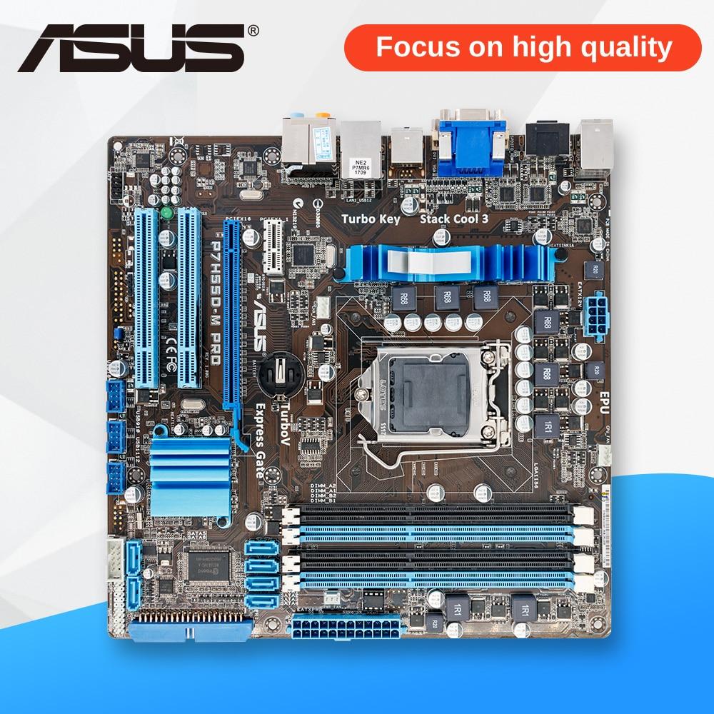 Asus P7H55D-M PRO Desktop Motherboard H55 Socket LGA 1156 i3 i5 i7 DDR3 16G uATX On Sale asus p7h55 desktop motherboard h55 socket lga 1156 i3 i5 i7 ddr3 16g atx uefi bios original used mainboard on sale