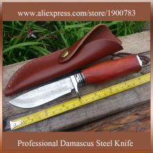 DT038  damascus steel blade camping knife rosewood handle outdoor fixed hunting knife facas taticas