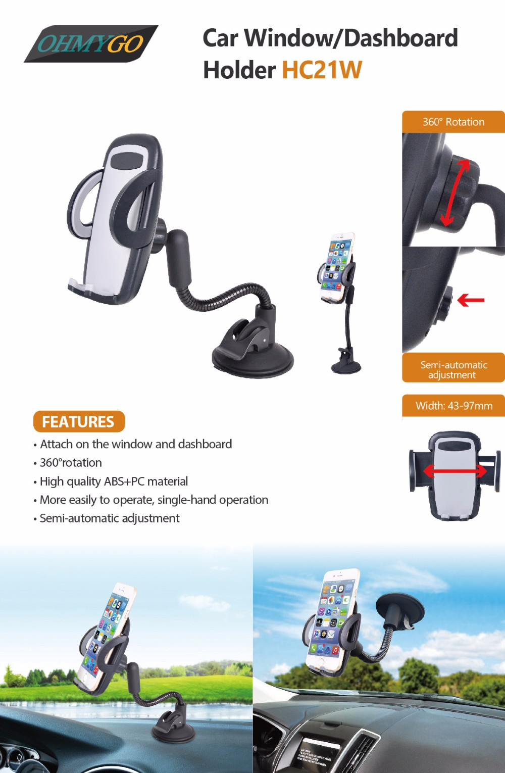 HC21W-Handy mobile mount with long neck