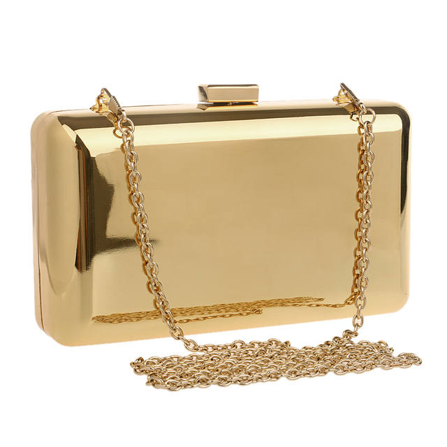 Simple brand design gold/black/silver color day clutch evening bags tin luxury glasses/cosmetics purse bags