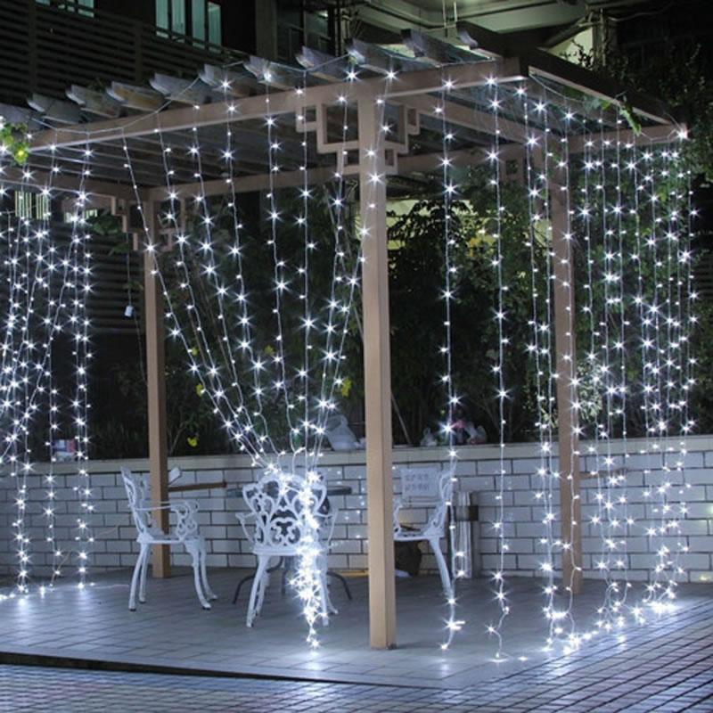 EU US Plug 3 m * 3 m 300 LED String Fairy Gordijn Licht Guirlande - Vakantie verlichting - Foto 3
