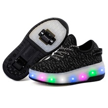 USB Chargeable Children s Shoes Sports Casual Two Wheels Kids Sneakers  Fashion With LED Shining For Boys 64713d5f42f4