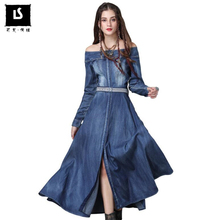 409aab0cfa5 Fashion Vintage Denim Long Dress Womens Autumn High Quality Casual Sexy Off  Shoulder Splice Jeans Dress