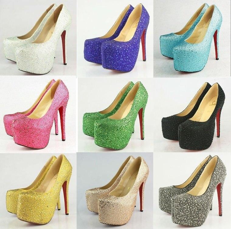 Fashion Lady Leather Crystal Diamond High heels,Wedding Dress Pumps,Sexy Evening Party heels 16cm heels Pink,Green,Gold,Blue