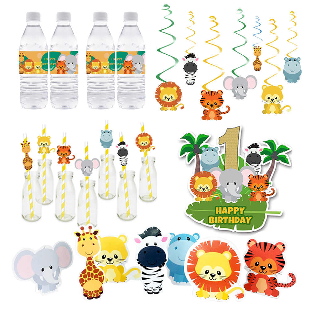 Safari Animals Party Supplies Favor Box Invitation Straw Cake Topper Party Hat Bottle Wrapper Baby Shower Kids Birthday Decor