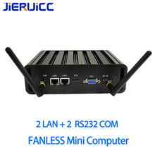 2 гигабитных Lan 2RS232 COM безвентиляторный мини-ПК 4 K HD i3 i5 i7 celeron 24 часа работы 2 COM HDMI двухдисплейный видеоадаптер HD HTPC Windows 10