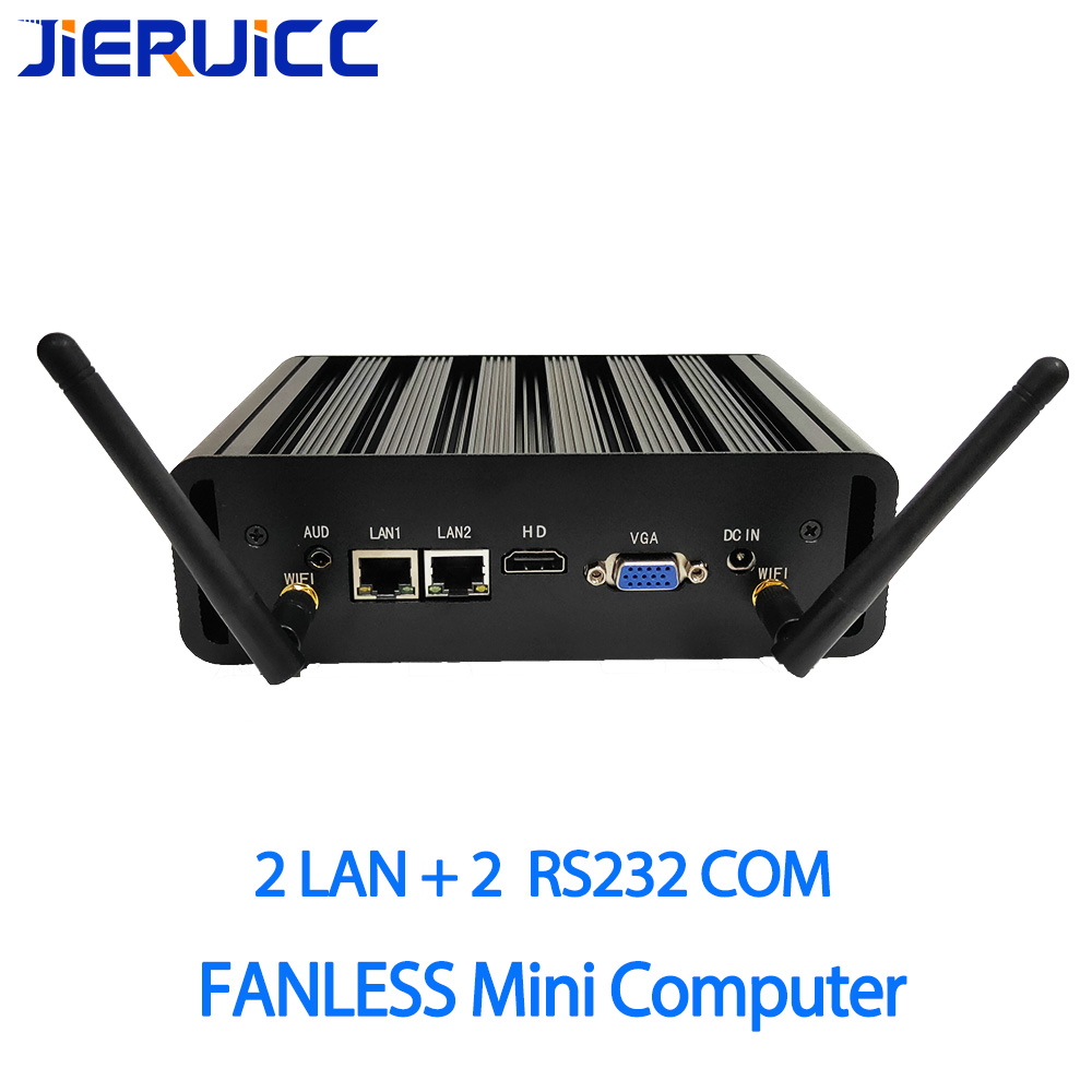 Gigabit Lan 2 2RS232 COM FANLESS MINI PC 4 K HD i3 i5 i7 celeron 2 24 Horas de Trabalho COM HDMI VGA Dupla Afixação HD HTPC Windows 10