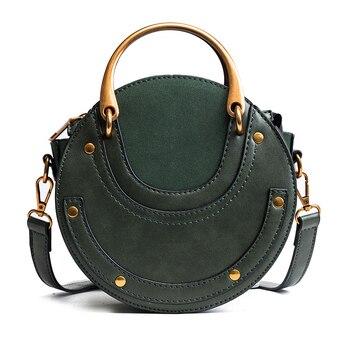 2018 новые модные высокого качества PU кожаная сумочка мини плеча через плечо сумка маленький круглый Вышивка Крестом Пакет Для женщин сумка
