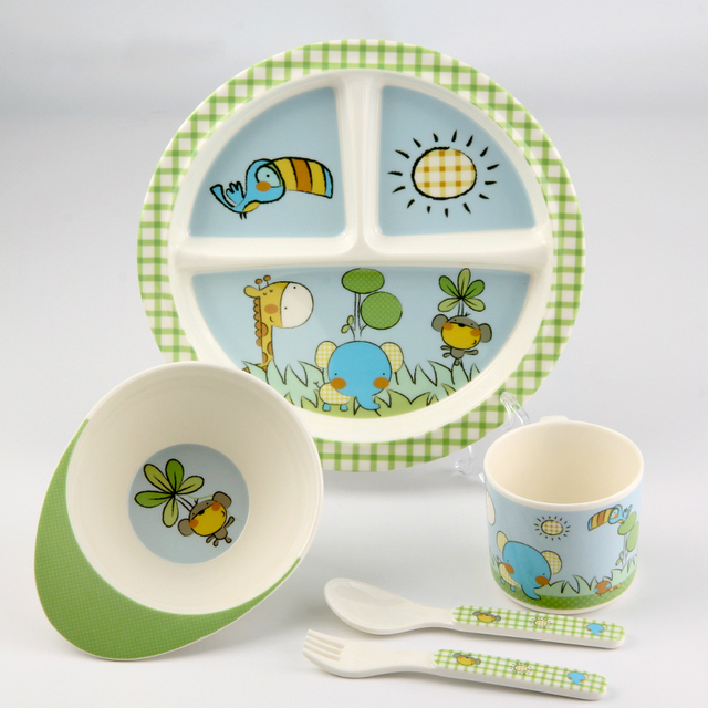 Hot Selling Lovely Baby Feeding Tableware Sets Baby Feeding Bowl Spoon Cup Fork Plate Cartoon Children Dinner Tray Free Shipping