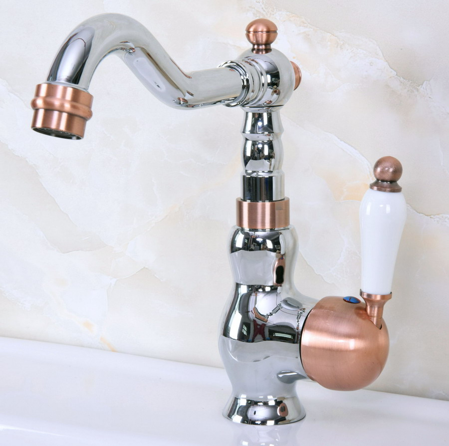 Polished Chrome Red Copper Brass Swivel Spout Single Ceramic Handle Kitchen/Bar Bathroom Sink Faucet Hot&Cold Mixer Tap Anf913