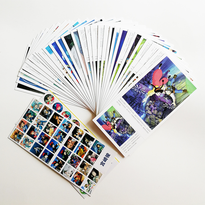 30Sheets/set Hayao Miyazaki Animation Postcards with 120Stickers Japanese Cartoon Postcard Greeting Cards Gifts Cards Long Size 3pcs flying xmas santa ride greeting cards 3d laser cut pop up paper handmade postcards christmas party gifts supplies souvenirs