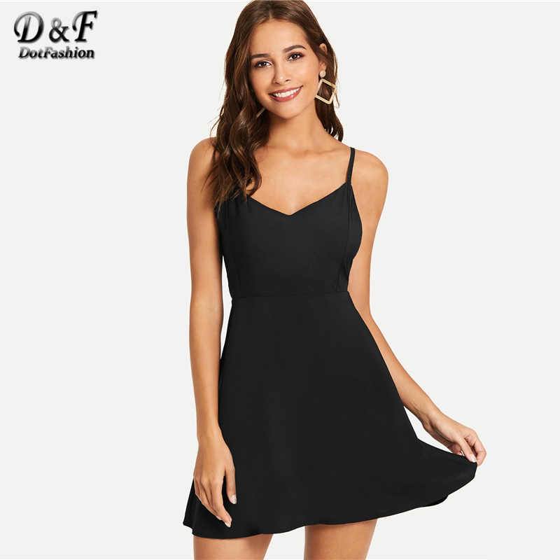 85d47fbf4787e Dotfashion Contrast Wing Back Cami Sexy Dresses Party Night Club 2019 Women  Clothes Summer Night Out Sleeveless Plain Dress