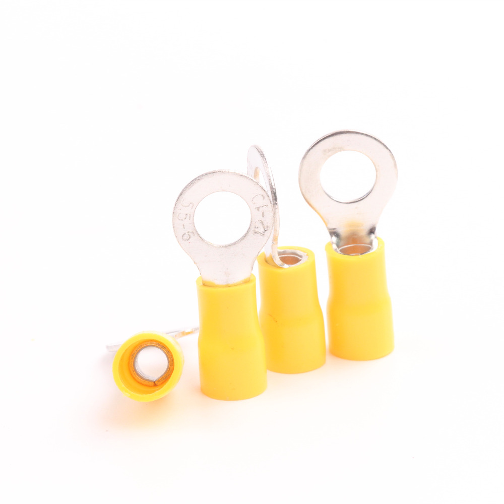 100pcs Yellow 12-10 AWG RV5-6 Brass for Crimp Connectors Ring Vinyl Pre - insulated Electrical Terminals