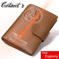New Travel Passport Wallets Genuine Leather Men Wallet Short Photo Holder Purse Credit ID Card Holder
