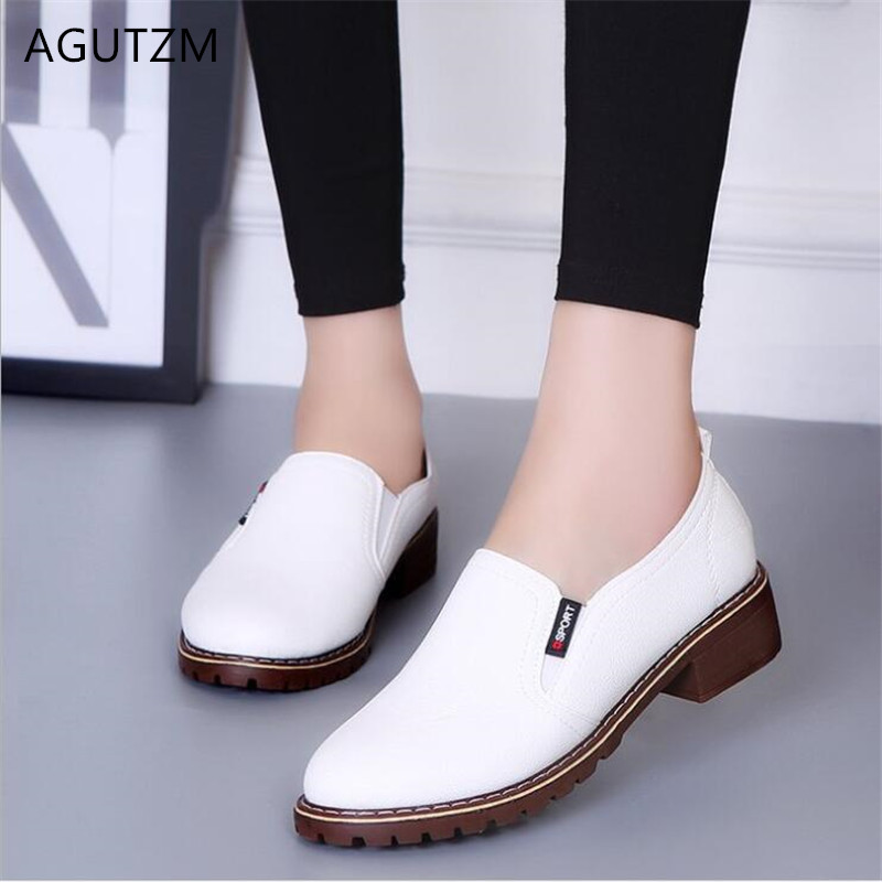 AGUTZM 2019 New Women Shoes Genuine Leather Women's Shoe Lace-Up Female Flats Round Head Woman Oxfords Large Size 35-42 Y57(China)