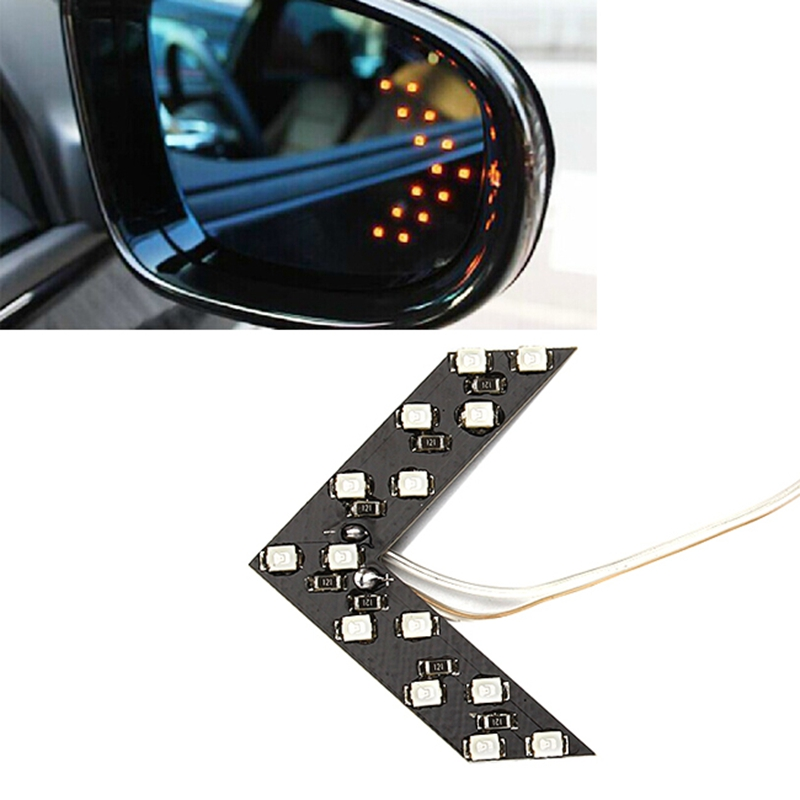 2pcs LED Car Turn Signal Lights Rear View Mirror Indicators Lamps 14 SMD Arrow Panel Side Bulbs Car Styling Accessories Safety car styling 2017 2pcs 14smd arrow panel led rear view mirror indicator turn signal light for volkswagen touareg car styling