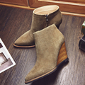 2016 Women's Autumn Wedge Ankle Boots Pointed Toe Brand Designer Short Booties Female Footwear Genuine Leather Shoes for Women