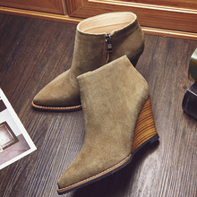 2016 Women s Autumn Wedge Ankle Boots Pointed Toe Brand Designer Short Booties Female Footwear Genuine