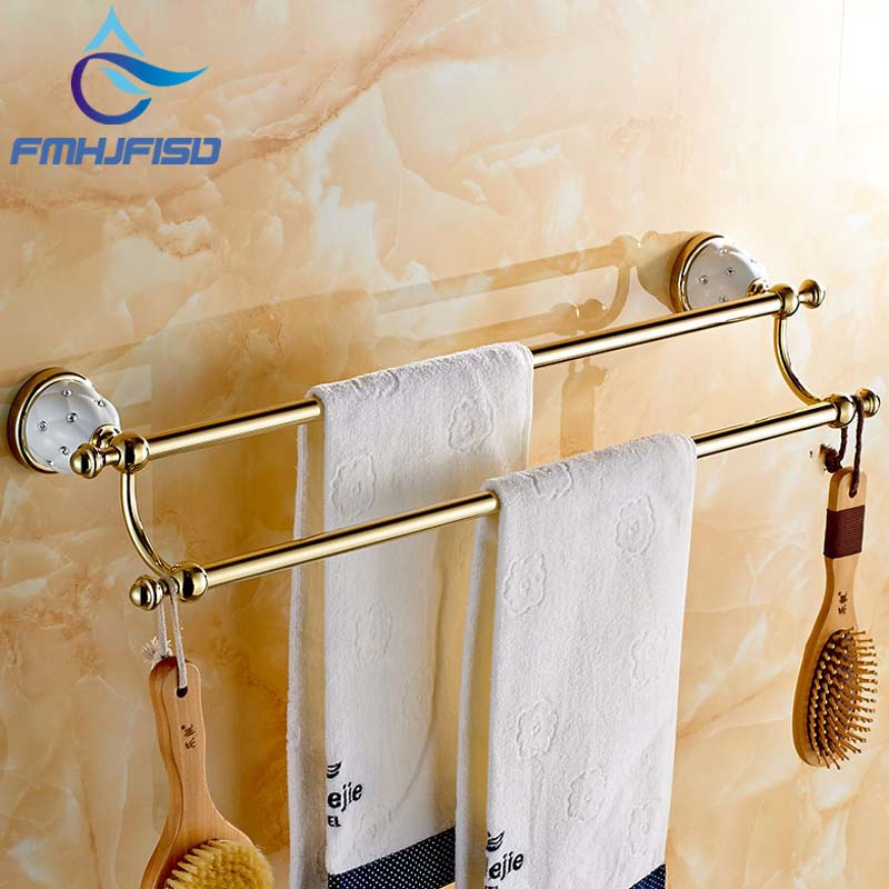 Modern Golden Finish Solid Brass Diamond Ceramic Base Towel Rack Holder Dual Towel Bars Wall Mounted diamond ceramic base golden brass bathroom toilet paper holder wall mounted