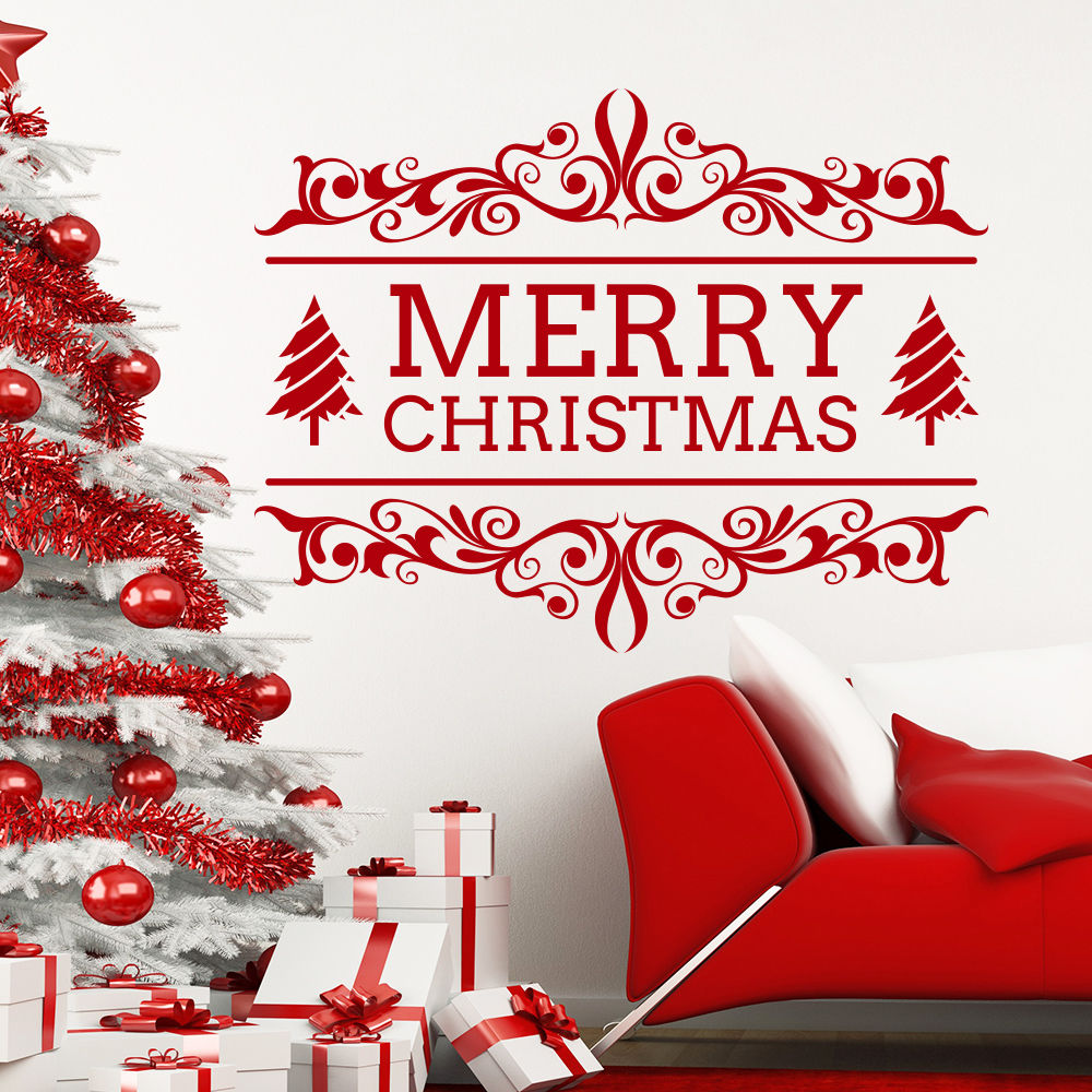 christmas decor stores promotion shop for promotional christmas merry christmas decor red tree removable windows vinyl wall art decal home decor cafe store shop market window stickers mural