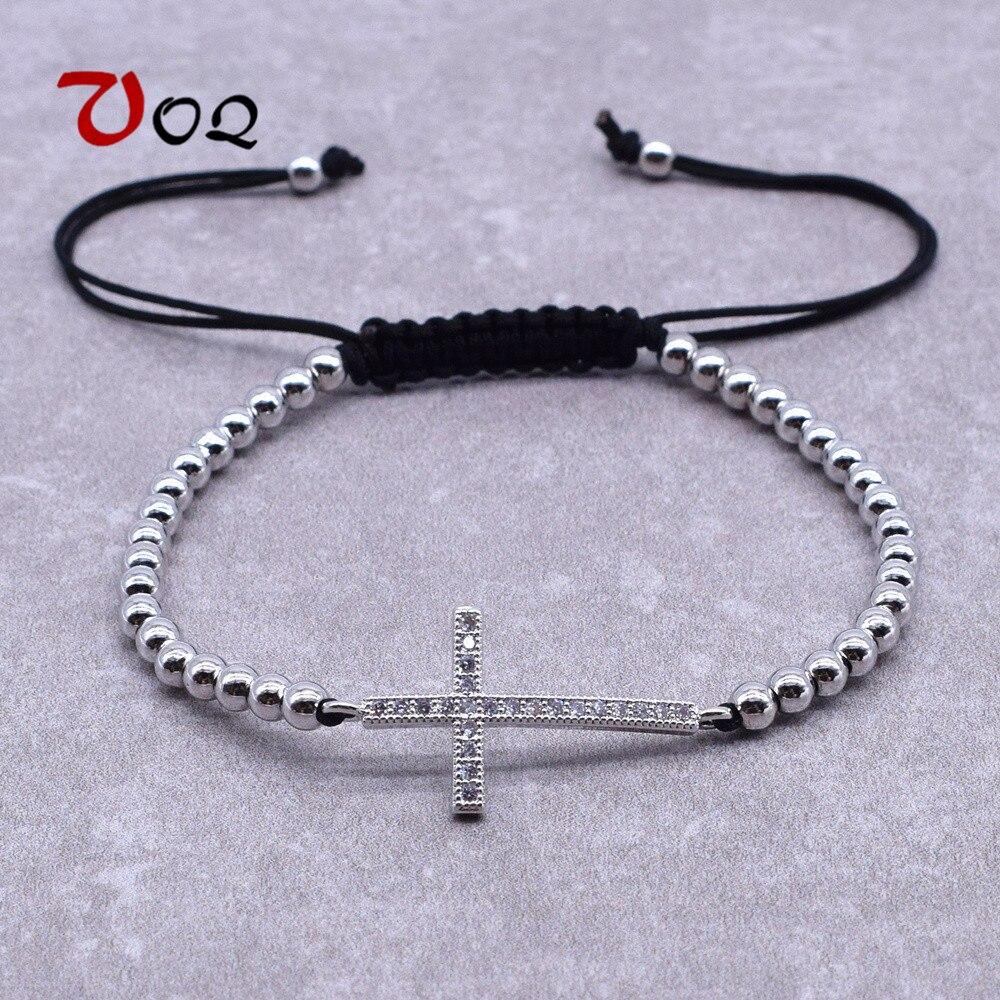 Desain Baru Yesus Kristen Wanita Pria Horizontal Ke Samping Cross Gelang Tali Disesuaikan Gelang Fashion Perhiasan Kristal