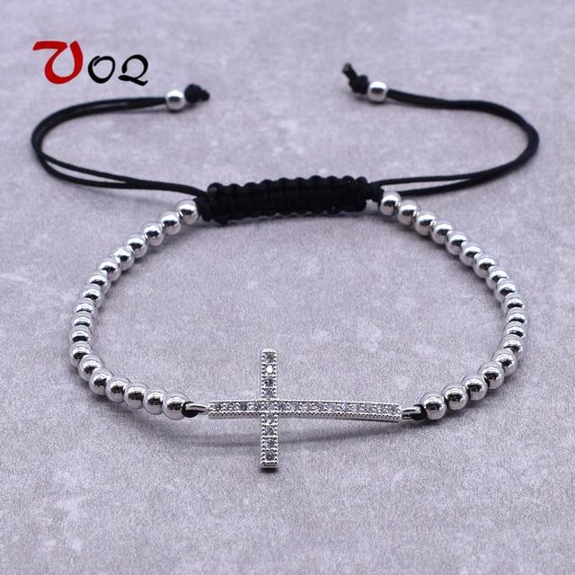 New Design Women Men Horizontal Sideways Cross Bracelets Adjule Rope Beads Bracelet Fashion Crystal