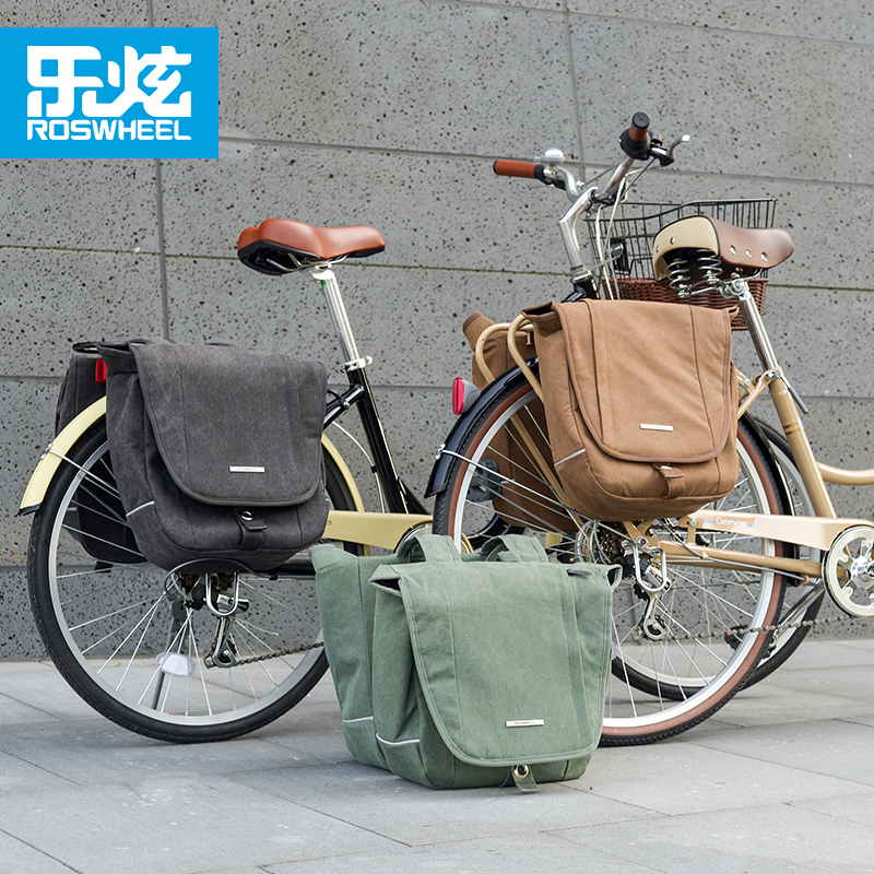ROSWHEEL 20L Bicycle Bags Strong Urban Retro Canvas Bike Double Side Rack Bag Bilateral Pack MTB Traveling Cycling equipment|Bicycle Bags & Panniers| |  - title=