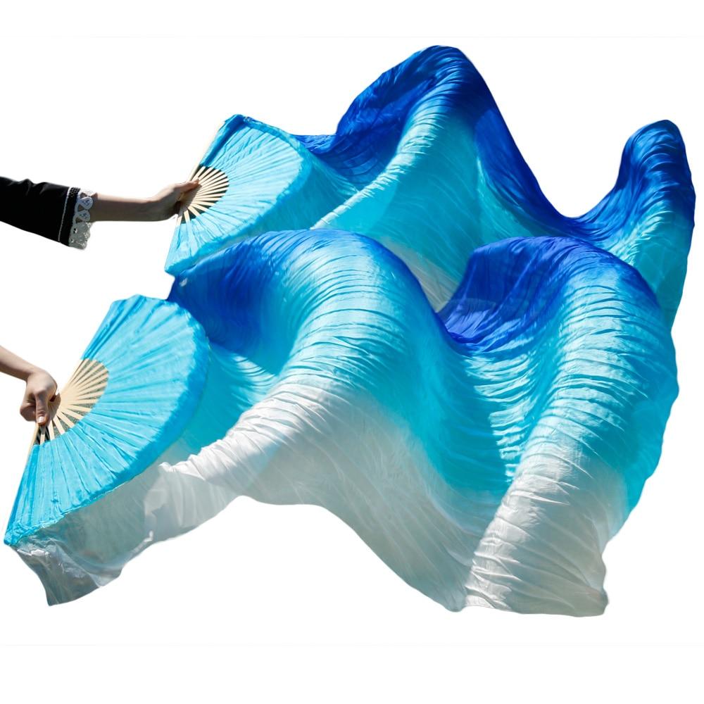 New Arrivals Stage Performance Dance Fan 100% Silk Veil Colored  Women Belly Dance Fans Royal blue+turquoise+white stripe (2pcs)