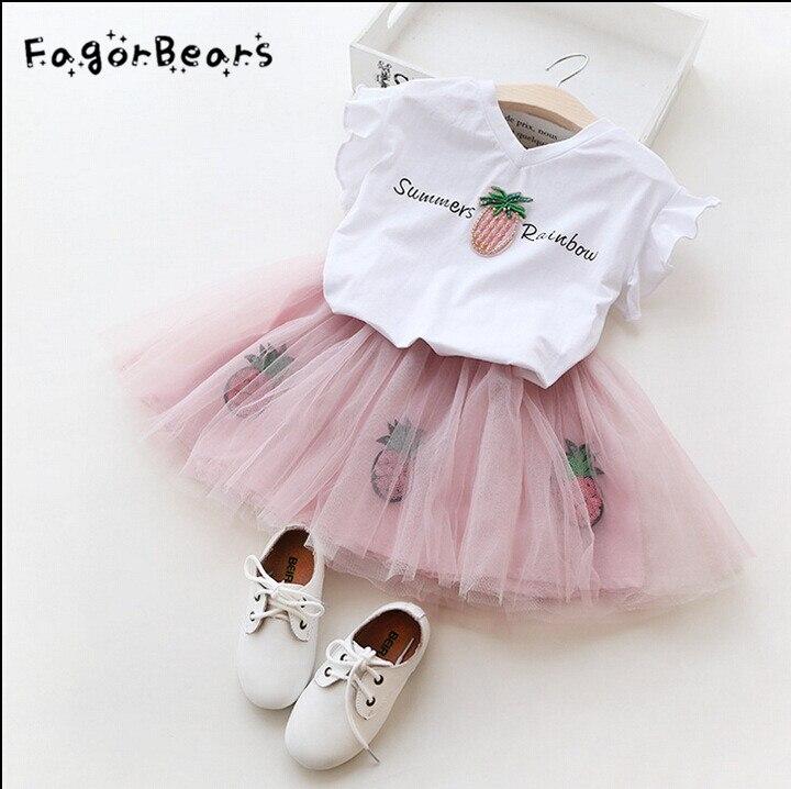 FagorBears Girls Clothes Sets Cartoon Kitten Printed Childrens Chothings Cat T-shirt+Net Veil Dress 2Pc For Kids Girl Clothes ...