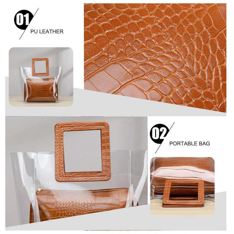 Сумки с верхней ручкой для женщин большая прозрачная сумка-шоппер для женщин Роскошные сумки женские сумки дизайнерские прозрачные композитные ручные сумки