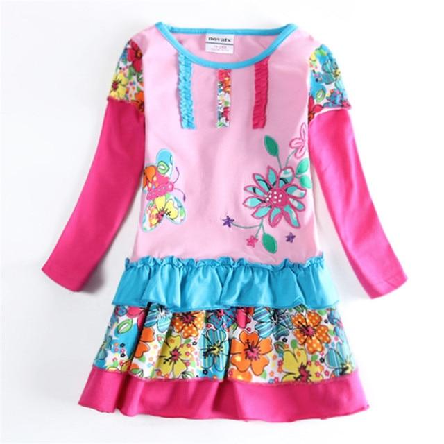 Girl Dress Flowers Nova Kids Wear Baby Long Sleeve Children Clothes Frocks Autumn Spring Child