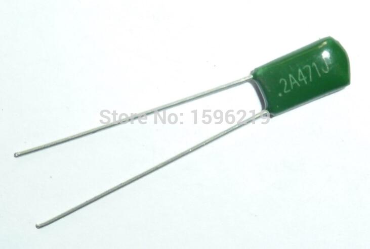 10pcs Mylar Film Capacitor 100V 2A471J 470pF 0.47nF 2A471 5% Polyester Film Capacitor