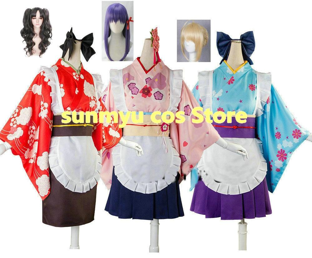 Fate Stay Night Rin Yukata Kimono Costume Cosplay NEW
