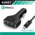 Aukey de carga rápida 3.0 3 portas usb/tipo c-carregador de carro para nexus 5x6 p nokia n1 oneplus 2 lumia 950/950xl lg g5, & USB-C