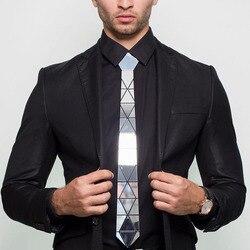 Handgemachte Glänzend Silber Diamant Form Acryl Krawatte Krawatte Geschenk Box Silber Spiegel Schlanke Mode Krawatte Formale Anzüge Krawatte Hochzeit